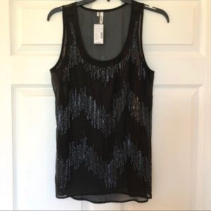 NWT Maurices Beaded Sheer Tank Top
